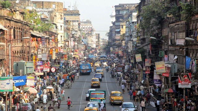 A bird's eye view of a busy road in Central Kolkata